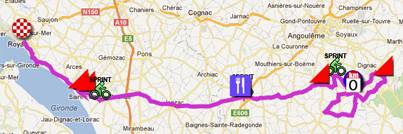 The map with the race route of the first stage of the Tour Poitou-Charentes 2012 on Google Maps