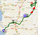 The map with the race route of the second stage of the Tour Poitou-Charentes 2012 on Google Maps