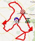 The map with the race route of the third stage of the Tour Poitou-Charentes 2012 on Google Maps