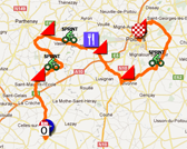 The map with the race route of the fifth stage of the Tour Poitou-Charentes 2012 on Google Maps