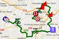La carte du parcours de la deuxième étape du Tour Poitou-Charentes 2014 sur Google Maps