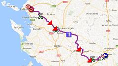 La carte du parcours de la première étape du Tour Poitou-Charentes 2016 sur Google Maps