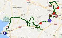 La carte du parcours de la deuxième étape du Tour Poitou-Charentes 2016 sur Google Maps