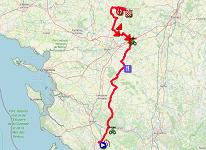 La carte du parcours de la première étape du Tour Poitou-Charentes en Nouvelle-Aquitaine 2021 sur Open Street Maps