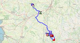 La carte du parcours de la deuxième étape du Tour Poitou-Charentes en Nouvelle-Aquitaine 2021 sur Open Street Maps