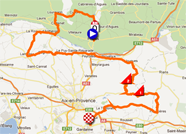 The map with the race route of the first stage of the Tour Med 2012 on Google Maps