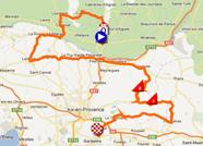 La carte du parcours de la première étape du Tour Med 2012 sur Google Maps