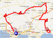 The map with the race route of the third stage of the Tour Med 2012 on Google Maps