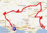 La carte du parcours de la troisième étape du Tour Med 2012 sur Google Maps