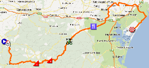 The race route of the first stage of the Tour Med 2013 on Google Maps
