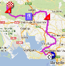The race route of the third stage of the Tour Med 2013 on Google Maps