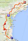 De kaart met het parcours van de eerste etappe van de Tour Med 2014 op Google Maps