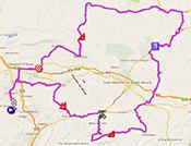 De kaart met het parcours van de tweede etappe van de Tour Med 2014 op Google Maps