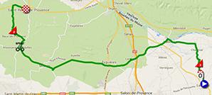 De kaart met het parcours van de derde etappe van de Tour Med 2014 op Google Maps