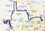 The map with the race course of the second stage of the Tour of Beijing 2011 on Google Maps