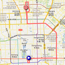 The map with the race course of the fifth stage of the Tour of Beijing 2011 on Google Maps