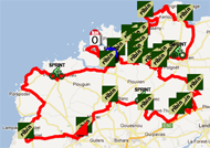 The map with the Tro Bro Léon 2012 race route on Google Maps
