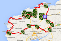 The map with the race route of the Tro Bro Léon 2015 on Google Maps