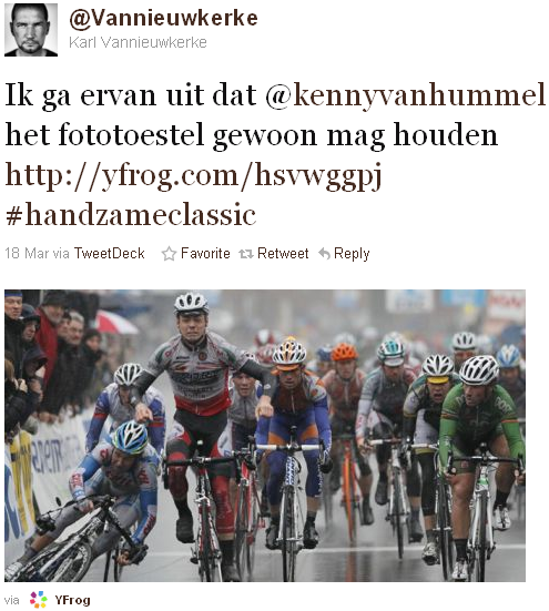 Karl Vannieuwkerke - tweet of the week