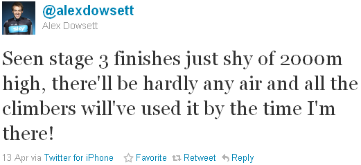 Alex Dowsett - tweet of the week