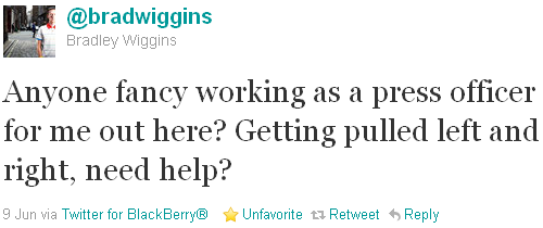 Bradley Wiggins - tweet of the week