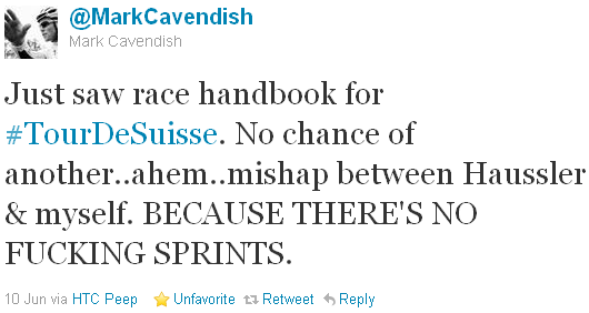 Mark Cavendish - tweet of the week