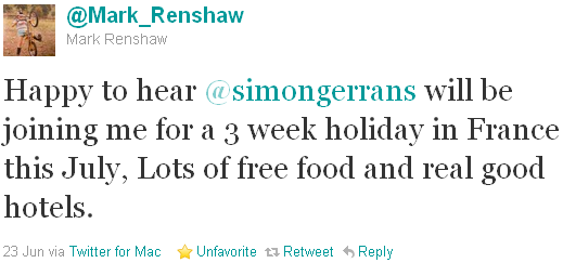 Mark Renshaw - tweet of the week