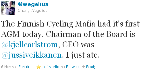 Charly Wegelius - tweet of the week