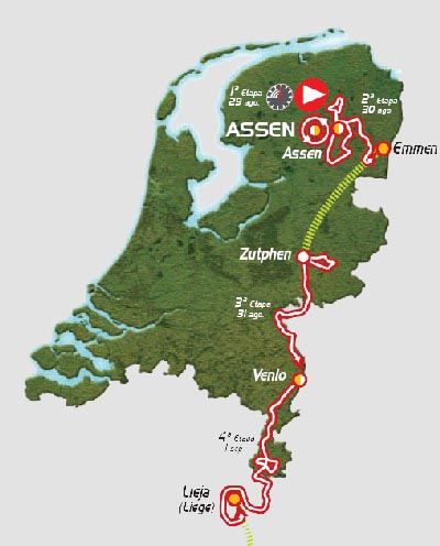 The map of the first part of the Vuelta a Espa&ntildea 2009