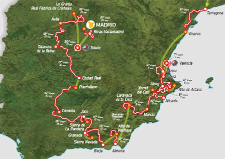 The map of the Spanish part of the Vuelta a Espa&ntildea 2009