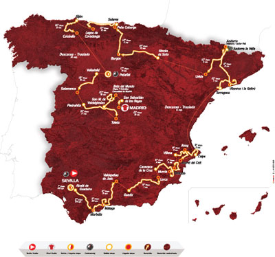 De kaart van het parcours van de Vuelta a Espa&ntildea 2010