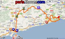 La carte du parcours de la dixième etappe de la Vuelta a Espa&ntildea 2010 sur Google Maps