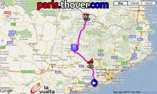 La carte du parcours de la onzième etappe de la Vuelta a Espa&ntildea 2010 sur Google Maps