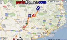 La carte du parcours de la douzième étape de la Vuelta a Espa&ntildea 2010 sur Google Maps