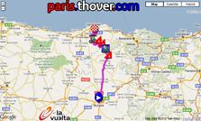 La carte du parcours de la quatorzième étape de la Vuelta a Espa&ntildea 2010 sur Google Maps