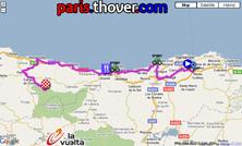 La carte du parcours de la quinzième étape de la Vuelta a Espa&ntildea 2010 sur Google Maps