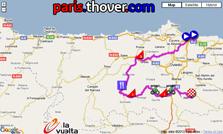 La carte du parcours de la seizième étape de la Vuelta a Espa&ntildea 2010 sur Google Maps
