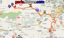 La carte du parcours de la dix-neuvième étape de la Vuelta a Espa&ntildea 2010 sur Google Maps