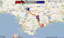 La carte du parcours de la deuxième etappe de la Vuelta a Espa&ntildea 2010 sur Google Maps