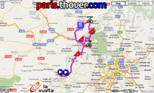 La carte du parcours de la vingtième étape de la Vuelta a Espa&ntildea 2010 sur Google Maps