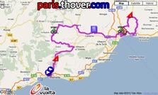 La carte du parcours de la troisième etappe de la Vuelta a Espa&ntildea 2010 sur Google Maps