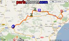 La carte du parcours de la cinquième etappe de la Vuelta a Espa&ntildea 2010 sur Google Maps