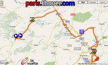 La carte du parcours de la sixième etappe de la Vuelta a Espa&ntildea 2010 sur Google Maps