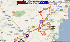 La carte du parcours de la septième etappe de la Vuelta a Espa&ntildea 2010 sur Google Maps