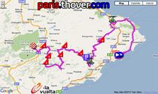 La carte du parcours de la neuvième etappe de la Vuelta a Espa&ntildea 2010 sur Google Maps
