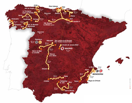 De kaart met het parcours van de Vuelta a Espa&ntildea 2011