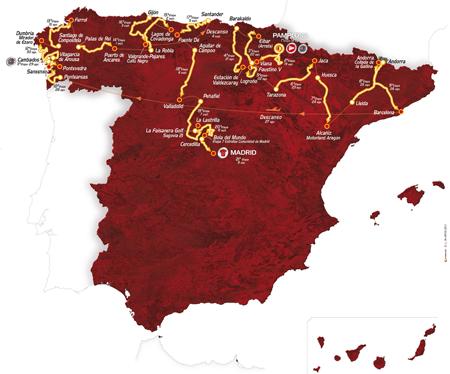 Carte du parcours de la Vuelta a Espa&ntildea 2012