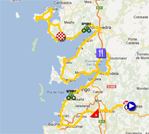The map with the race route of the tenth stage of the Vuelta a España 2012 on Google Maps
