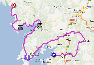 The map with the race route of the twelfth stage of the Vuelta a España 2012 on Google Maps
