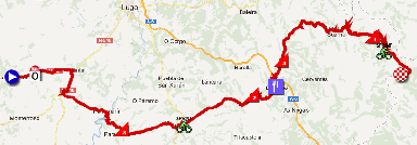 The map with the race route of the fourteenth stage of the Vuelta a España 2012 on Google Maps